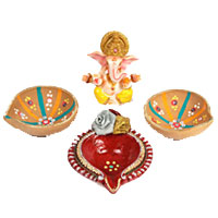 Same Day Delivery Diwali Gifts Udupi involve 3 Big Handcrafted Diya with Ganesh in Marvel
