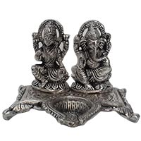 Order Online Gifts to India. Diya in Aluminium Lakshmi and Ganesh