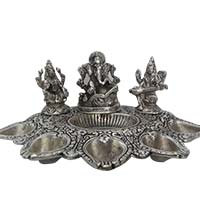 Send Diwali Gifts to India consisting Panch Mukhi Diya in Aluminium with Saraswati, Lakshmi and Ganesh