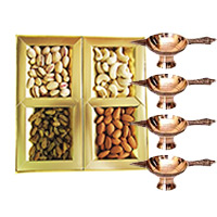 500 gm Mix Dry Fruits with 4 Brass Diya. Diwali Gifts to India