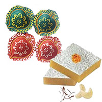 Diwali Gifts in India including 1 Kg Kaju Katli with 4 Handcrafted Diyas