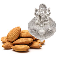 Send Diwali Gifts to India with 500gm Almonds with Ganesh Pata Diya to India.