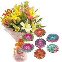 Express Delivery Diwali Gifts India add up to 6 Mix Lily Bouquet with 7 Handcrafted Diya