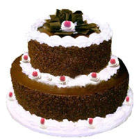 Buy 3 Kg 2 Tier Eggless Black Forest Cake to India