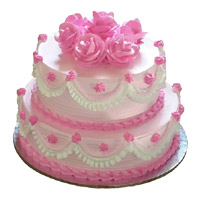 3 Kg Two Tier Eggless Strawberry Cake Delivery in India Online