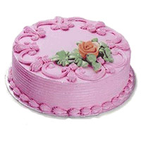 Order Cake Online India Midnight Delivery for 1 Kg Eggless Strawberry Cake From 5 Star Bakery