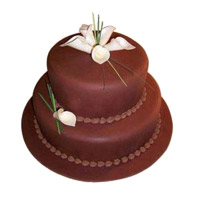 Send 3 Kg 2 Tier Eggless Chocolate Cake to India