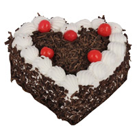 Home Delivery of Cakes in India for 1 Kg Eggless Heart Shape Black Forest Cake