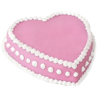 Send 1 Kg Eggless Heart Shape Strawberry Cake to India