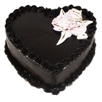 Same Day Cake Delivery to India for 1 Kg Eggless Heart Shape Chocolate Truffle Cake