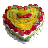 Online Delivery of 3 Kg Heart Shape Fruit Cake to India