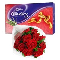 Diwali Chocolate to India. Cadbury Celebration Pack with 12 Red Roses Bunch. Diwali Gifts to India