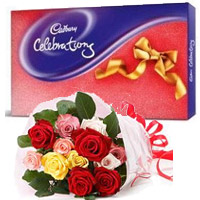 12 Mix Roses Bouquet with Cadbury Celeberation Pack in Daman