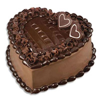 Free Cake Delivery in India to send 1 Kg Heart Shape Chocolate Truffle Cake