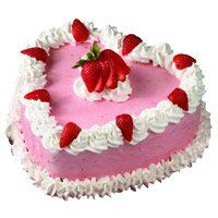 Heart Shape Cakes to Udupi and 1 Kg Heart Shape Strawberry Cakes in Udupi
