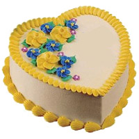 Online Cake Delivery to India to send 1 Kg Heart Shape Butter Scotch Cake