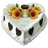 Send 1 Kg Heart Shape Pineapple Cake to India