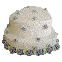 Buy Online 3 Kg Two Tier Heart Shape Vanilla Cake to India