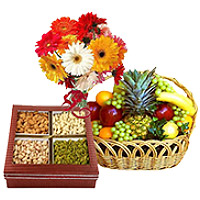 Online Gifts Delivery in India consist of Bunch of 12 Mix Gerberas with 3 kg Fresh fruit Basket and 0.5 kg Mixed Dry fruits