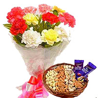 Send Gifts to India. 12 Mixed Flowers Bouquet with 1/2 Kg Assorted Dry Fruits and 2 Dairy Milk Chocolates to Mangalore
