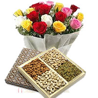 Online Delivery of 24 Mixed Roses with 1/2 Kg Assorted Dry Fruits and Gifts in India