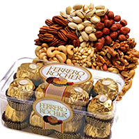 Online Gifts Delivery in India. 500 gm Mixed Dry Fruits Gifts with 16 pcs Ferrero Rocher Chocolates to Bangalore