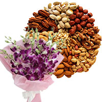 Place Order for 12 Orchid Stem Flower Bouquet with 500 gm Assorted Dry Fruits. Gifts to Dharwad