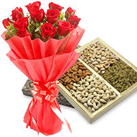 Order Gifts to India for 12 Red Roses with 500 gm Mixed Dry Fruits to Manipal