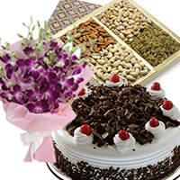 Buy Gifts to Hubli. 5 Purple Orchids Bunch 1/2 Kg Black Forest Cake with 500 gm Mix Dry Fruits Online India