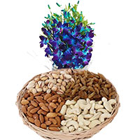 Gifts to India. Blue Orchid Bunch 10 Flowers Stem with 1/2 Kg Mix Dry Fruits to Udupi