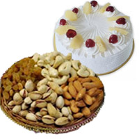 Gifts Delivery in India. 500 gm Pineapple Cake with 500 gm Mixed Dry Fruits in India
