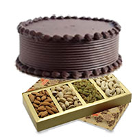 Gifts to India of 500 gm Mixed Dry Fruits with 500 gm Chocolate Cake Delivery to India