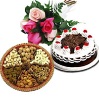 Gifts to India. Send 6 Mix Roses 1/2 Kg Black Forest Cake with 500 gm Mix Dry Fruits