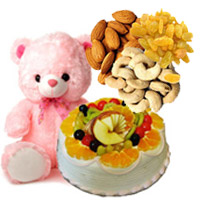 Order for 12 inch Teddy 1 Kg Eggless Fruit Cake in India Online from 5 Star Bakery with 500 gm Assorted Dry Fruits for Gifts to India