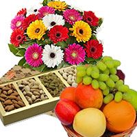 Send 12 Mix Gerbera with 500 gm Mix Dry Fruits and Gifts in India and 1 Kg Fresh Fruits Basket