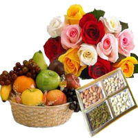 Send Gifts to India. 12 Mix Roses Bunch with 1 Kg Fresh Fruits Basket and 500 gm Mix Dry Fruits to India