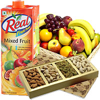 Online Gifts Delivery in India for 1 Kg Real Juice with 2 Kg Fresh Fruits Basket and 1 Kg Mix Dry Fruits to India