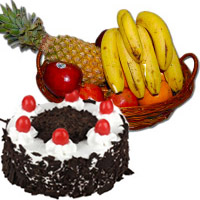 Send Fresh Fruits Basket with 500 gm Black Forest Cake in India