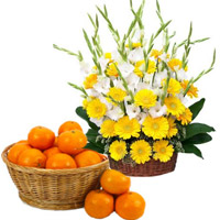Order New Year Orange Basket in Gifts to India
