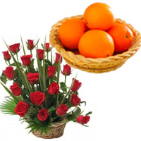 Send Roses Basket to India with 12 pcs Orange