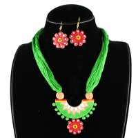 Handcrafted Semi Circle Terracota Necklace Green