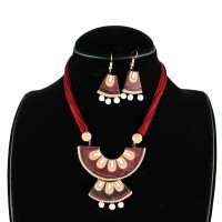 Handcrafted Semi Circle Necklace Maroon