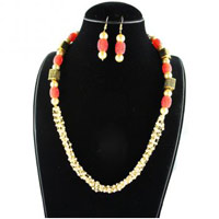 Red and White Multi Strand Necklace Set