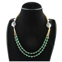 Green and White Multi Strand Necklace