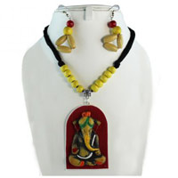 Terracota Ganesh Pendent Necklace