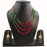 Rani and White Beads Multi Strand Necklace Set