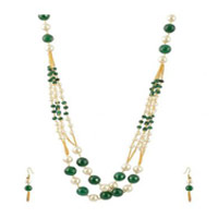White and Green Multi Strands Necklace Set