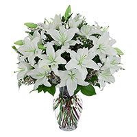 Send Rakhi to India. White Lily in Vase 8 Flower Stems