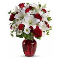 Online Flower Delivery to Udupi. Send 2 White Lily 6 White Gerbera 6 Red Roses Vase