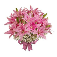 Send Flowers in India. Online Pink Oriental Lily Rakhi Bouquet 6 Stems